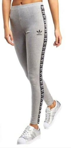 Women's adidas Originals Taped Leggings Grey Yoga Gym Fitness BP9304 Brand New